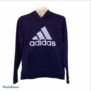Adidas kids embroidered logo pocketed hoodie